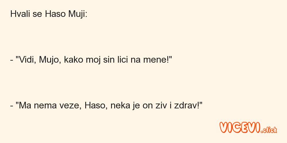 """Hvali se Haso Muji:- """"Vidi, Mujo, kako moj sin lici na mene!"""