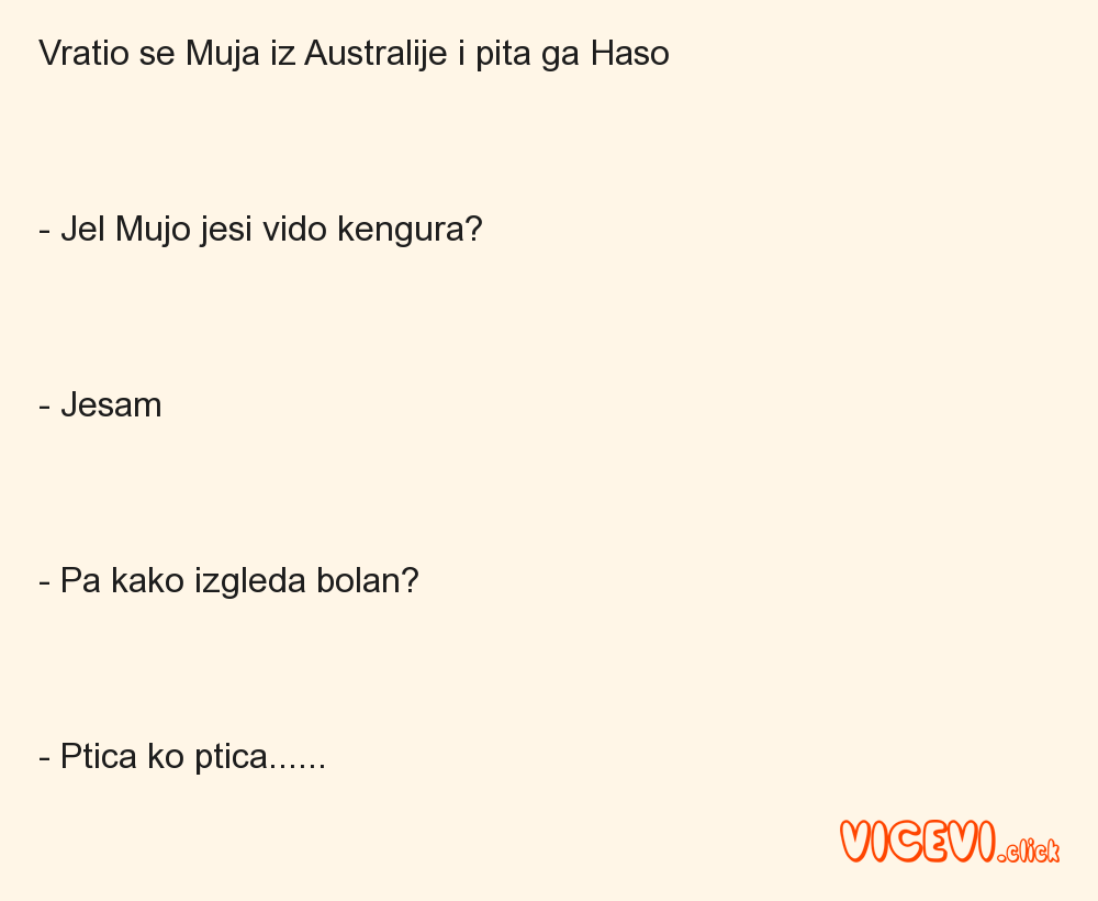 Vratio se Muja iz Australije i pita ga Haso   - Jel Mujo jesi vido kengura?