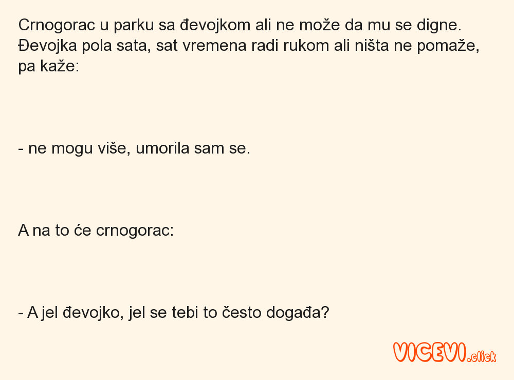 Crnogorac u parku sa đevojkom ali ne može da mu se digne.